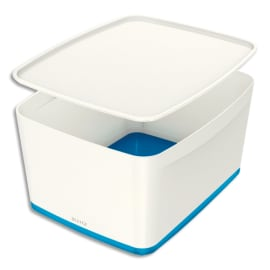 LEITZ Boîte MYBOX medium avec couvercle en ABS. Coloris Blanc fond Bleu photo du produit