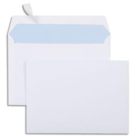 Boîte de 500 enveloppes Blanches 80g C6 114x162 mm auto-adhésives photo du produit