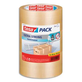 TESA Lot de 3 Adhésifs d'emballage Extra Strong en PVC, 52 microns - H50 mm x L66 mètres Transparent photo du produit