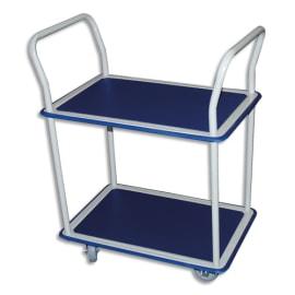 WONDAY Chariot double plateau Bleu en acier Blanc, antidérapant, mobile - Plateau : 72,5 x 46,5 cm photo du produit
