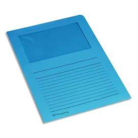 PERGAMY Paquet 100 pochettes coin en carte 120g avec fenêtre. Dimensions 22 x 31 cm. Coloris Bleu foncé photo du produit