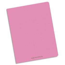 CONQUERANT C9 Cahier piqûre 17x22cm 96 pages 90g grands carreaux Séyès. Couverture polypropylène Rose photo du produit