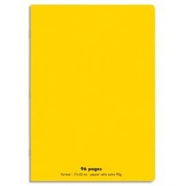 CONQUERANT C9 Cahier piqûre 17x22cm 96 pages 90g grands carreaux Séyès. Couverture polypropylène Jaune photo du produit