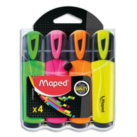 MAPED Surligneurs FLUO'PEPS Classic : Vert, Rose, Jaune, Orange, sous pochette photo du produit