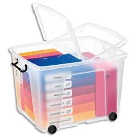 CEP Boîte de rangement Smart Box Strata avec couvercle clipsé et roues dim int.38x48x37cm transparent 75L photo du produit