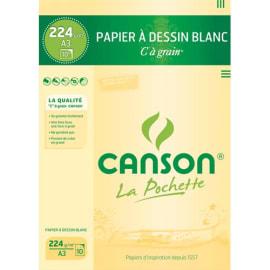 CANSON Pochette de 10 feuilles de papier dessin C A GRAIN 224g A3 Ref-27115 photo du produit