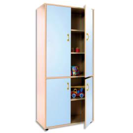 MOBEDUC Armoire haute L80 x H180 X P40 cm, 3 tablettes, 4 portes poignée couleur Bleu lavande photo du produit