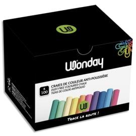 WONDAY Boîte de 100 Craies anti-poussière coloris assortis photo du produit
