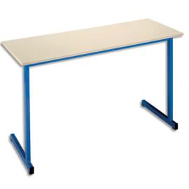 SODEMATUB Table scolaire biplace, hêtre, Bleu - Dimensions : L130 x H74 x P50 cm, taille 6 photo du produit