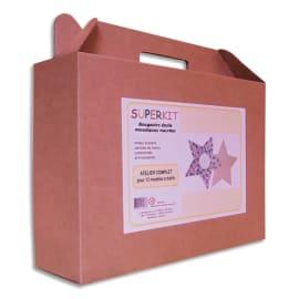 Kit d activités 12 bougeoirs étoile en bois 14x14cm à décorer avec mosaïque nacrée 5x5mm assortie photo du produit