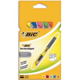 BIC Pochette de 5 surligneurs de poche pointe biseautée encre liquide assorties TECHNOLIGHT photo du produit