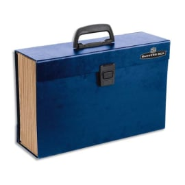 BANKERS BOX Trieur malette 19 compartiments, structure carton, poignée de transport, coloris Bleu photo du produit