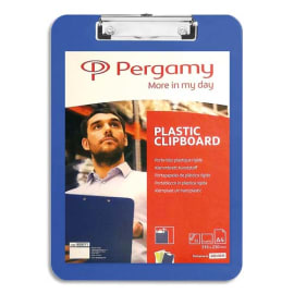 PERGAMY Porte Bloc Plaque en plastique pour documents format A4+, Bleu - Dimensions L23xH31,6cm photo du produit