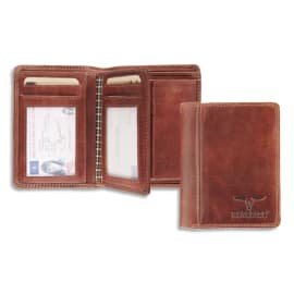 MAVERICK Portefeuille Dalian RFID cuir marron, 2 poches : fenêtre et monnaie, 6 cartes, Ft 9,5 x 12,5 cm photo du produit