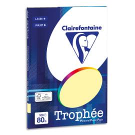 CLAIREFONTAINE Pochette de 100 feuilles papier couleur TROPHEE 80 grammes format A4. Coloris Jaune canari photo du produit