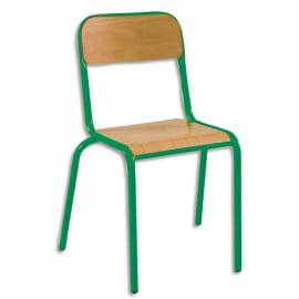 SODEMATUB Lot de 4 chaises scolaire Alexis, hêtre, Vert, assise 35 x 36 cm, taille 6 photo du produit