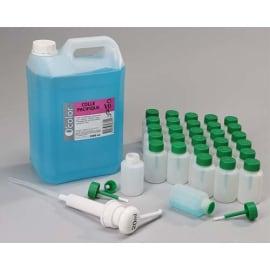 O COLOR Bidon de 5L de colle synthétique forte, 1 pompe 20ml, 30 flacons-pinceaux anti verse 80 ml vides photo du produit