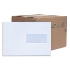 BONG Boîte de 200 enveloppes Blanches auto-adhésives 80g format 162X229mm C5 fenêtre 45x100mm photo du produit