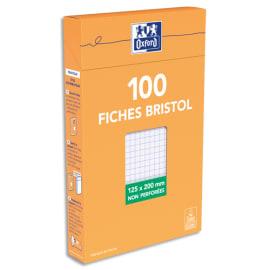 OXFORD Boîte distributrice 100 fiches bristol non perforées 125x200mm 5x5 Blanc photo du produit