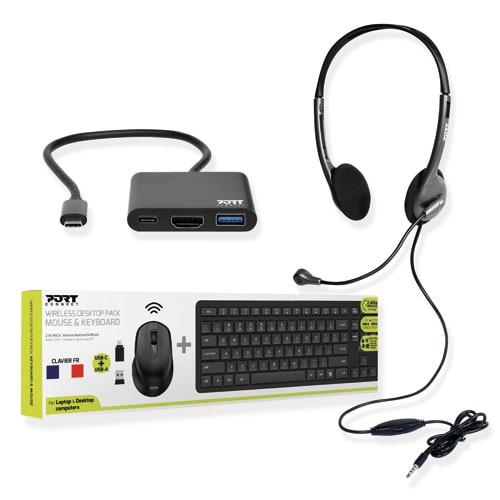 PORT DESIGNS Pack composé d'un ensemble clavier/souris sans fil Taille M + un casque + une mini station photo du produit Principale L