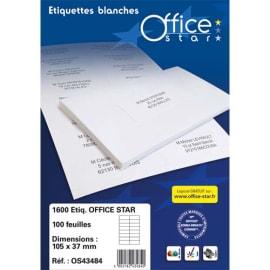 OFFICE STAR Boîte de 2400 étiquettes multi-usage Blanches 70X37mm OS43474 photo du produit