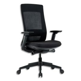 Fauteuil ELA dossier résille, assise tissu 50 kg/m3, accoudoir 3D, réglage assise, soutien lombaires noir photo du produit