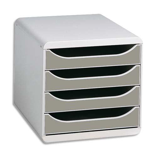 EXACOMPTA Module de classement 4 tiroirs BigBox Gris lumière/Granite photo du produit Principale L
