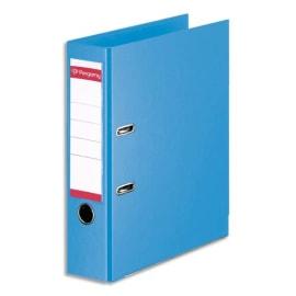 PERGAMY Classeur à levier en polypropylène intérieur/extérieur. Dos 8cm. Format A4. Coloris Bleu ciel photo du produit
