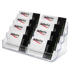 DEFLECTO Porte-cartes de visite 2x4 compartiments - Dimensions L20 x H9,9 x P9,2 cm coloris transparent photo du produit