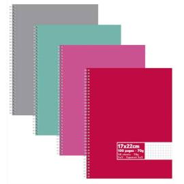 Cahier spirale 17x22cm 100 pages 60g petits carreaux 5x5. Couverture carte assortie photo du produit
