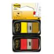 POST-IT Blister de 2 x 50 marque pages standards 25x44mm, coloris Rouge et Jaune photo du produit