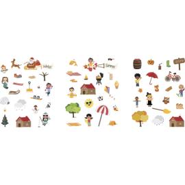 SODERTEX Pack de 48 planches 17x22 cm, 360 stickers papier 4 Saisons avec scènes téléchargeables 2 à 4 cm photo du produit