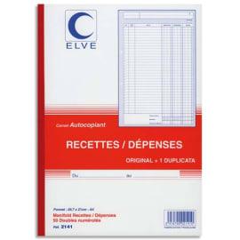 ELVE Manifold autocopiant recette/dépense format 21x29,7cm, 50 feuillets dupli photo du produit