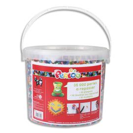 PERLOU Kit PERLOU composé de 35 000 perles à repasser + 10 plaques assorties photo du produit