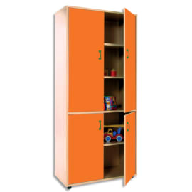 MOBEDUC Armoire haute L80 x H180 X P40 cm, 3 tablettes, 4 portes poignée couleur Orange photo du produit