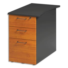 GAUTIER OFFICE Caisson bout bureauréversible 3 tiroirs dont 1DS Jazz Aulne Gris anthracite L47xH74xP79cm photo du produit