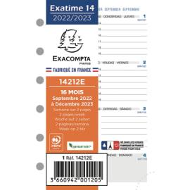 EXACOMPTA Recharge millésimé à l'horizontale Exatime 14, 16 mois SAD, 1 semaine sur 2 pages photo du produit