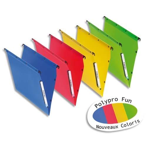 OBLIQUE AZ Paquet de 10 dossiers suspendus ARMOIRE polypro opaque 5/10e.Fond 30, bouton-pression.Assortis photo du produit Principale L