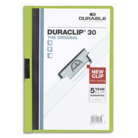 DURABLE Chemise de présentation Duraclip 30 à clip, couverture transparente - 1-30 feuilles A4 - Vert photo du produit