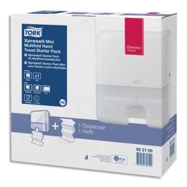 TORK Pack H2 Xpress Starter Distributeur essuie-mains Mini + recharge interfoliés doux Advanced 2 plis Z photo du produit