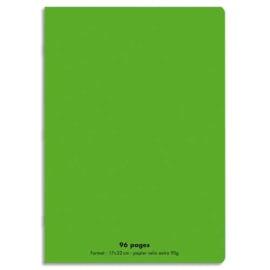 CONQUERANT C9 Cahier piqûre 17x22cm 96 pages 90g grands carreaux Séyès. Couverture polypropylène Vert photo du produit