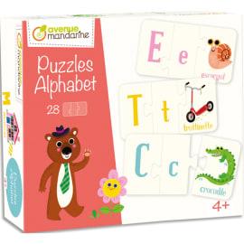 AVENUE MANDARINE Boîte puzzle thème alphabet 28 puzzles de 3 pièces 11 x 6 cm, bords arrondis photo du produit