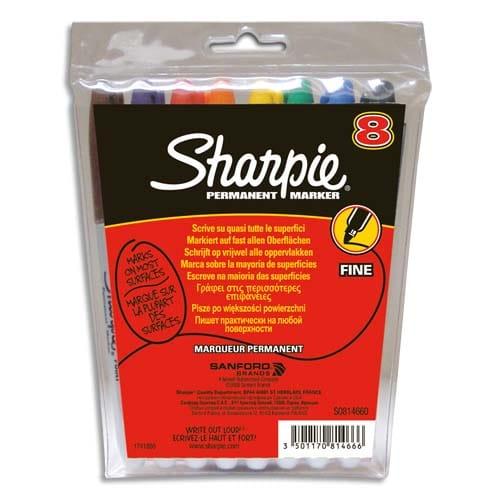 SHARPIE Pochette de 8 marqueurs permanents pointe ogive - coloris assortis photo du produit Principale L