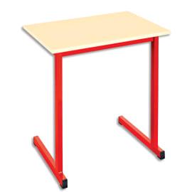 SODEMATUB Table scolaire monoplace, hêtre, Rouge - Dimensions : L70 x H74 x P50 cm, taille 6 photo du produit