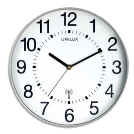 UNILUX Horloge Wave radio-piloté Gris métalisé, à pile AA non fournie, Diamètre 30,5 cm photo du produit