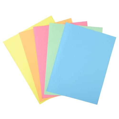 EXACOMPTA Paquet 100 chemises 1 rabat carte 160g SUPER 180. Coloris assortis Bleu/bulle/Jaune/Rose/vert photo du produit Principale L
