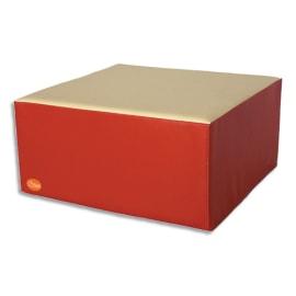 SUMO Pouf carré en mousse 60x60x30cm Rouge/ Beige photo du produit