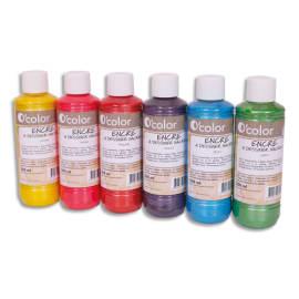 O COLOR Lot de 6 flacons 250ml d'encre à dessiner nacrée, couleurs assorties photo du produit