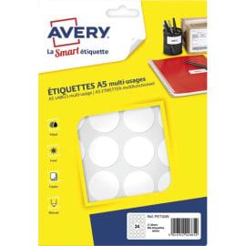 AVERY Sachet de 384 pastilles Ø30 mm. Imprimables. Coloris Blanc. photo du produit