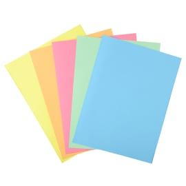 EXACOMPTA Paquet 100 chemises 1 rabat carte 160g SUPER 180. Coloris assortis Bleu/bulle/Jaune/Rose/vert photo du produit